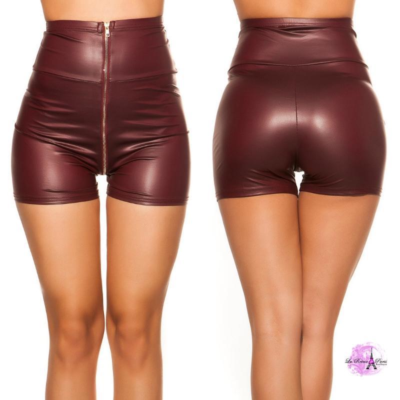 Pantalón corto de cintura alta burdeos
