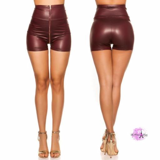 Pantalón corto de cintura alta burdeos [1]