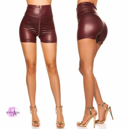 Pantalón corto de cintura alta burdeos [3]