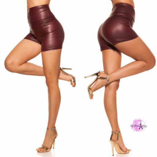 Pantalón corto de cintura alta burdeos [2]