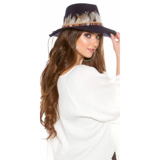 Sombrero con plumas azul [2]