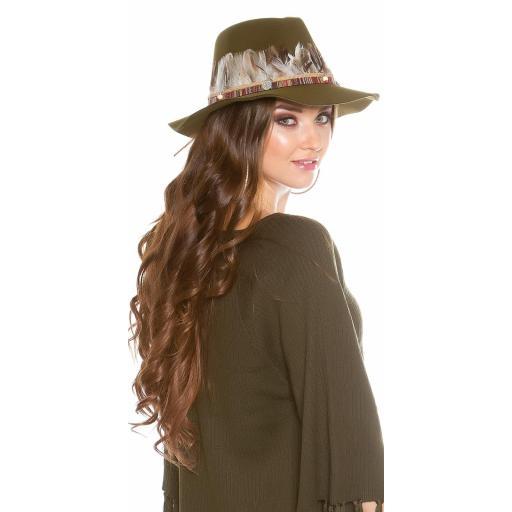 Sombrero con plumas khaki [2]