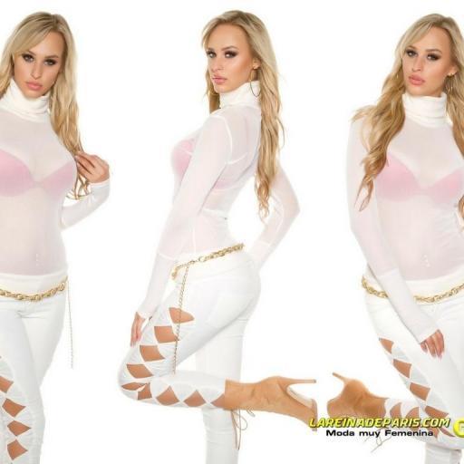 Suéter transparente de malla crema [3]
