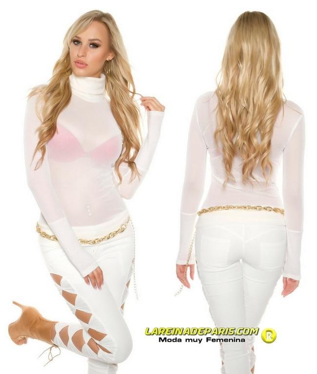 Suéter transparente de malla crema