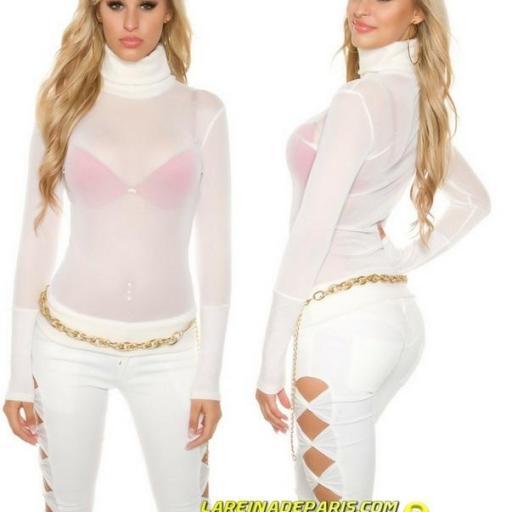 Suéter transparente de malla crema [2]