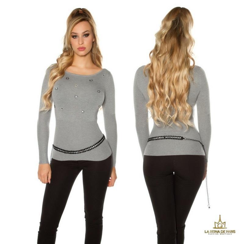 Suéter de punto fino ajustado gris