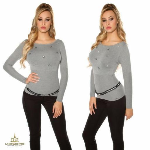 Suéter de punto fino ajustado gris  [1]