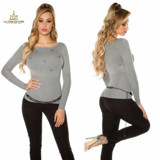 Suéter de punto fino ajustado gris  [2]