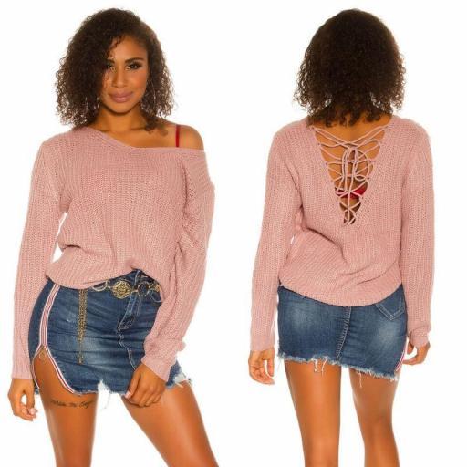 Suéter de punto rosa con cordones