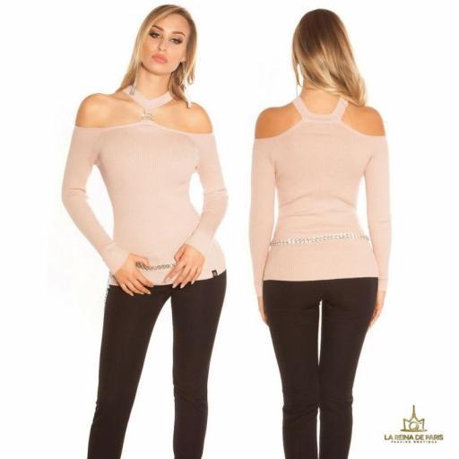 Suéter de punto hombros cut out rosa