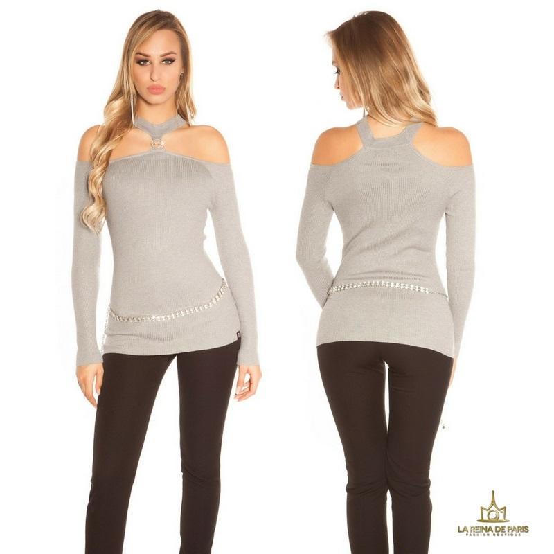 Suéter de punto hombros cut out gris