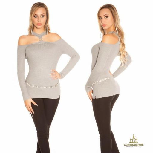 Suéter de punto hombros cut out gris [1]