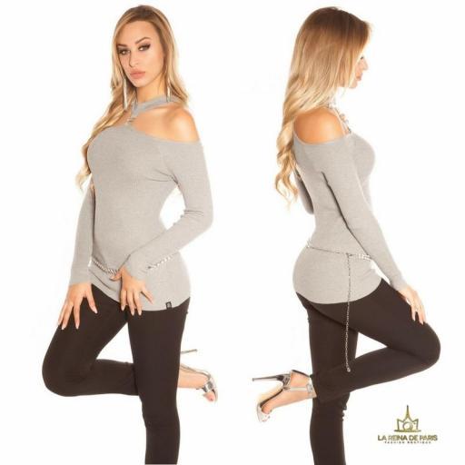 Suéter de punto hombros cut out gris [2]