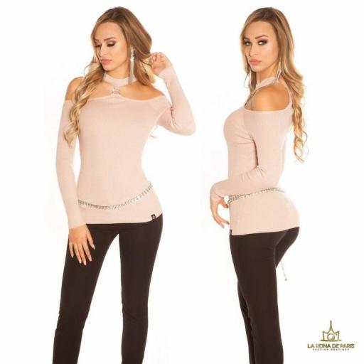 Suéter de punto hombros cut out rosa [1]