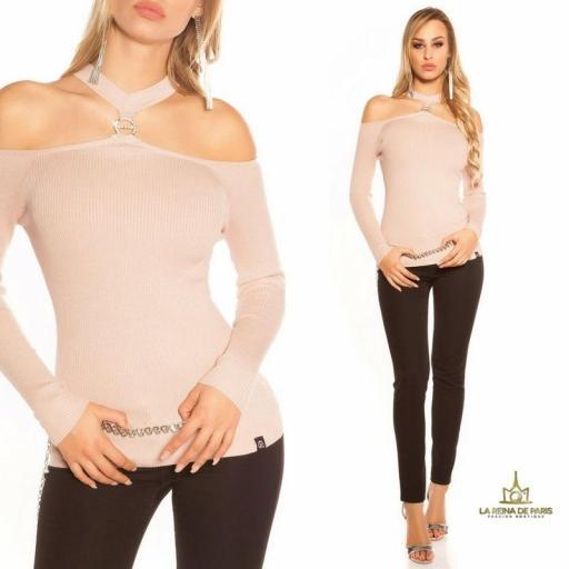 Suéter de punto hombros cut out rosa [3]