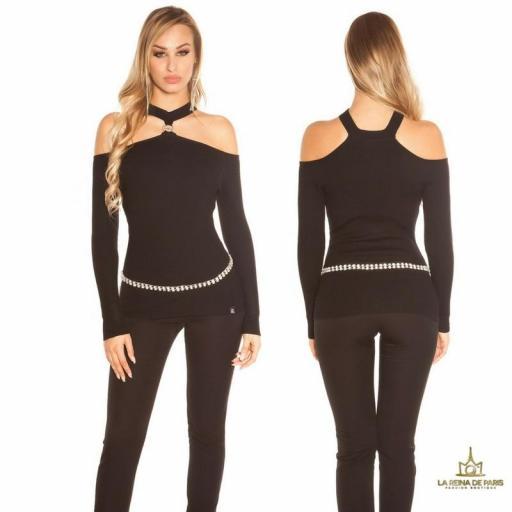 Suéter de punto hombros cut out negro [0]