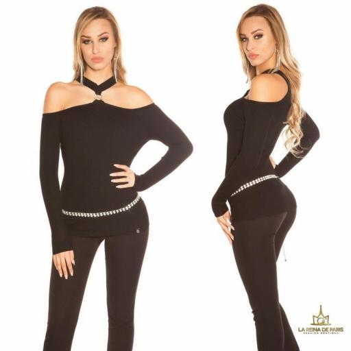 Suéter de punto hombros cut out negro [1]