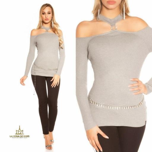 Suéter de punto hombros cut out gris [3]