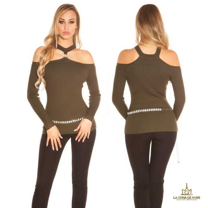 Suéter de punto hombros cut out khaki