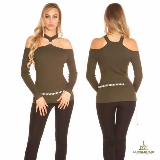 Suéter de punto hombros cut out khaki [0]