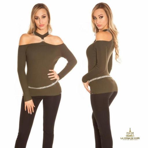 Suéter de punto hombros cut out khaki [1]