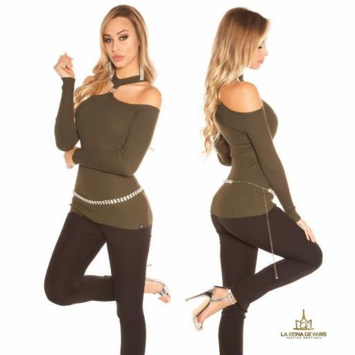 Suéter de punto hombros cut out khaki [2]