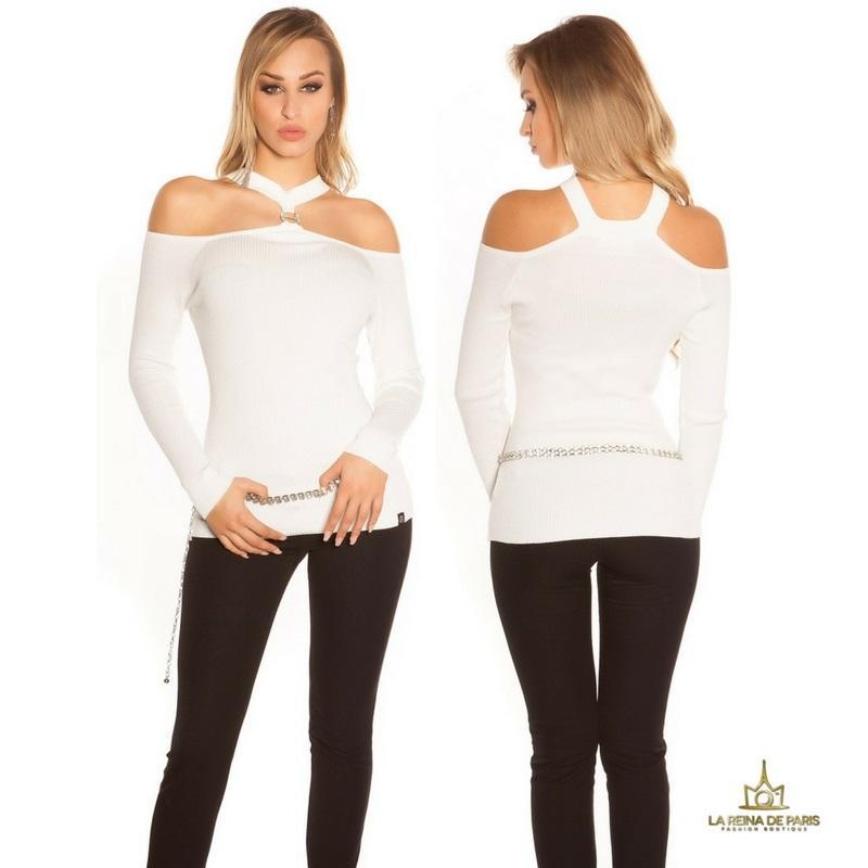 Suéter de punto hombros cut out blanco