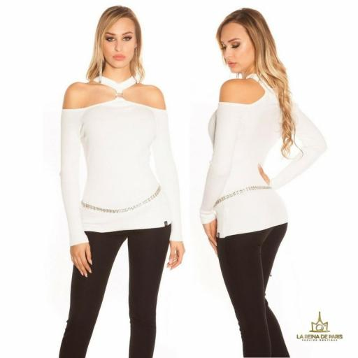 Suéter de punto hombros cut out blanco [1]