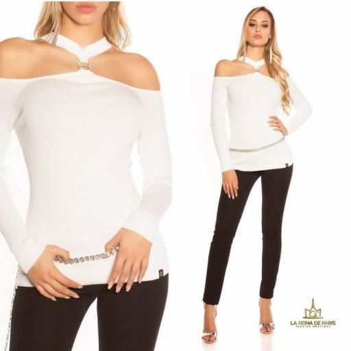 Suéter de punto hombros cut out blanco [3]