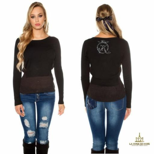 suéter 2 en 1 bicolor