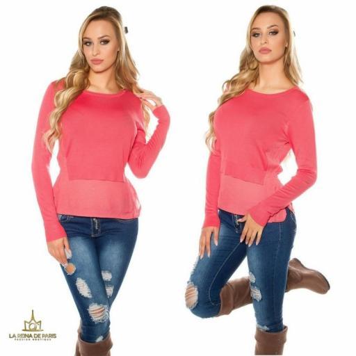 Suéter coral efecto top crop  [1]