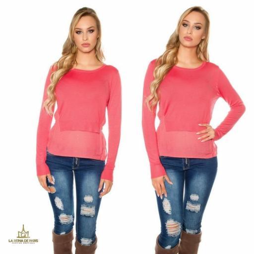 Suéter coral efecto top crop  [2]
