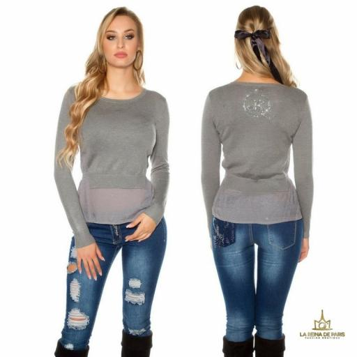 Suéter femenino efecto top crop