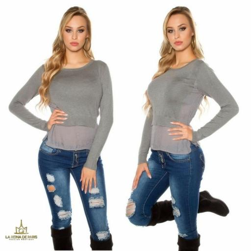 Suéter femenino efecto top crop   [2]