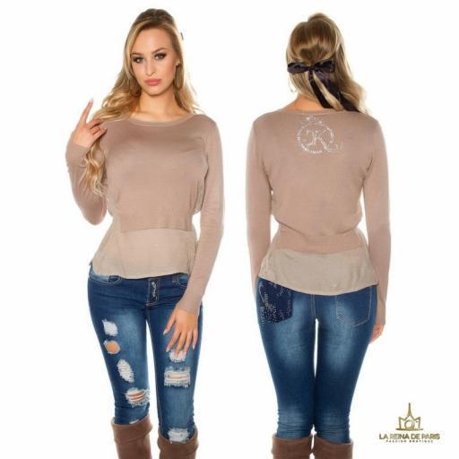 Suéter de moda visión efecto top crop
