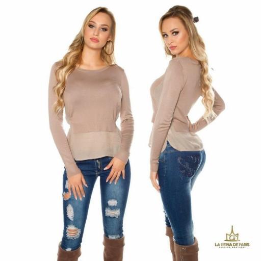 Suéter de moda visión efecto top crop  [1]