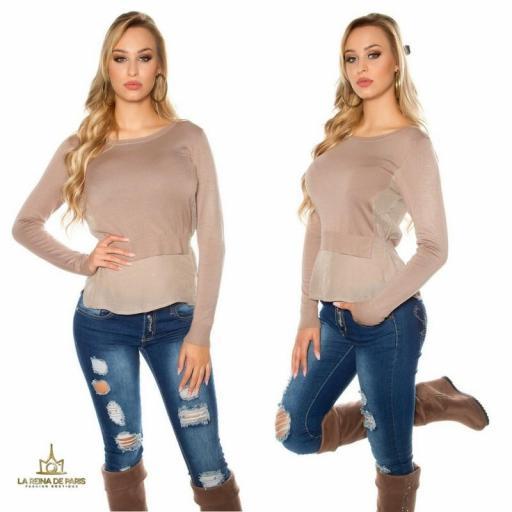 Suéter de moda visión efecto top crop  [2]