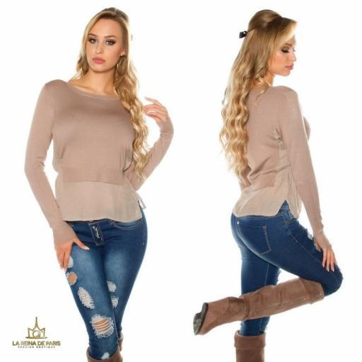 Suéter de moda visión efecto top crop  [3]