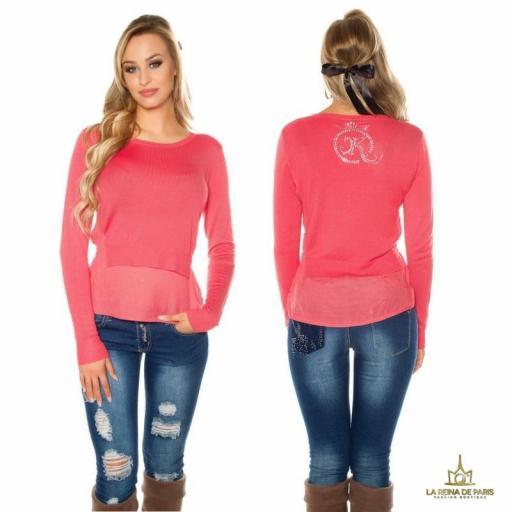 Suéter coral efecto top crop