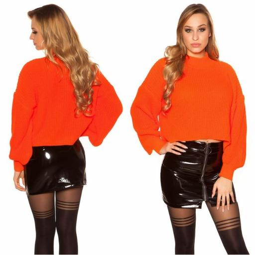 Suéter de punto de gran tamaño naranja