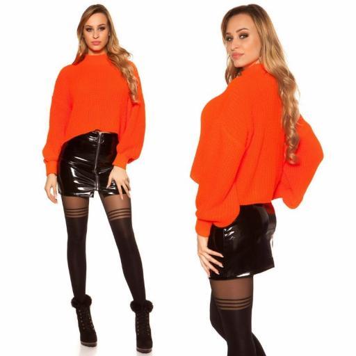 Suéter de punto de gran tamaño naranja [1]