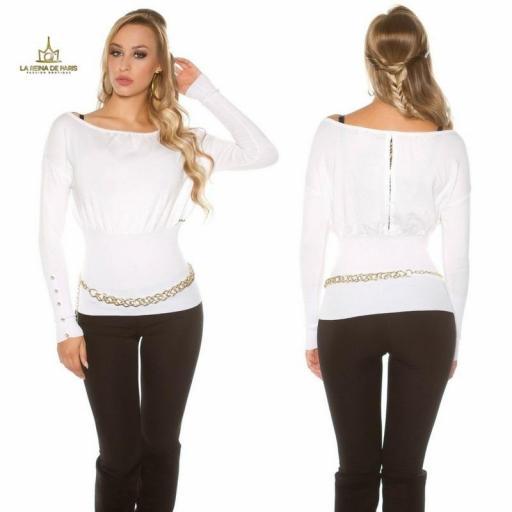 Suéter blanco femenino y chic