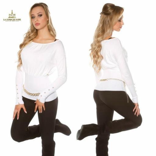 Suéter blanco femenino y chic [1]