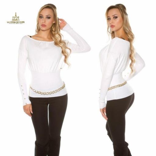 Suéter blanco femenino y chic [2]
