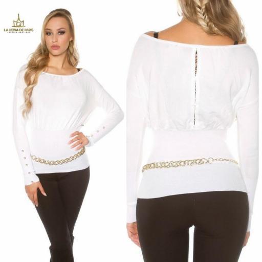 Suéter blanco femenino y chic [3]