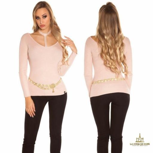 Suéter de moda rosa con choker