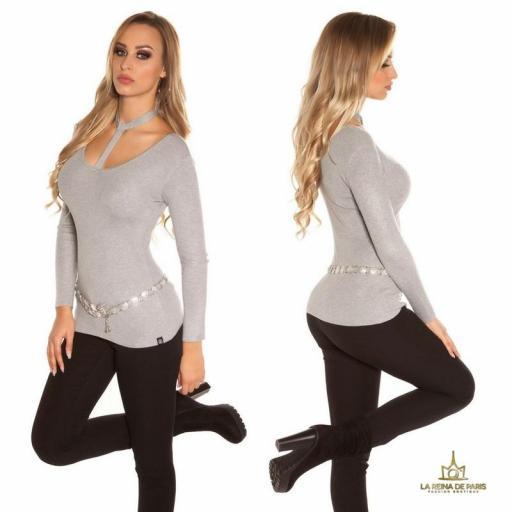 Suéter de moda gris con choker  [2]