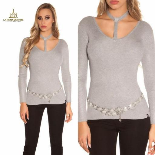 Suéter de moda gris con choker  [3]