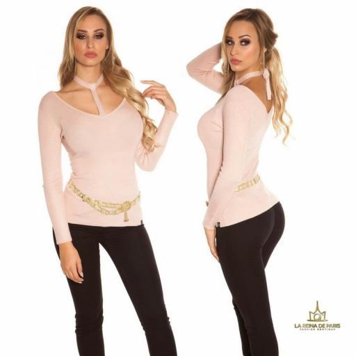 Suéter de moda rosa con choker  [1]