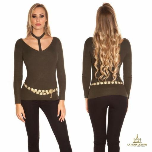 Suéter de moda khaki con choker